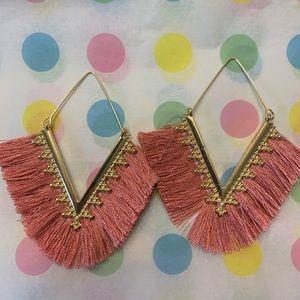 Gold Fringe Dangle Earrings Soft Pink - NWOT
